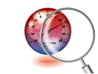 Translucent globe and thermometer, magnifier illustration (red) | Global warming image | Vector data