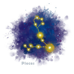 Pieces Zodiac Sign with Watercolor Textured Stain. Glowing Star Constellation on Dark Sky.