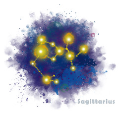 Sagittarius Zodiac Sign with Watercolor Textured Stain. Glowing Star Constellation on Dark Sky.