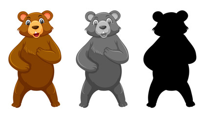 Set of grizzly bear character