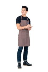 Handsome Asian man wearing apron as a barista