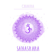 Vector illustration with symbol chakra Sahasrara and watercolor element on white background.
