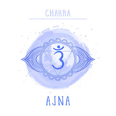 Vector illustration with symbol chakra Ajna and watercolor element on white background.