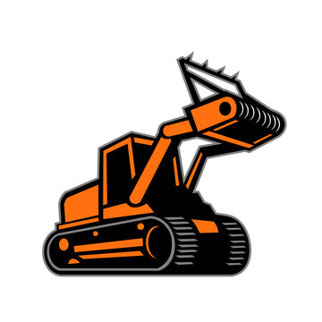 Retro icon style illustration of a tracked mulching tractor or forestry mulcher viewed from side on isolated background.
