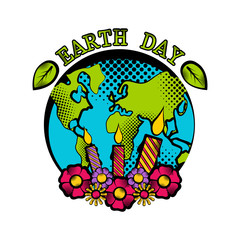 Sketch of planet Earth in its birthday. Earth day. Vector illustration design