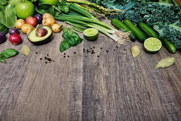 Fototapete - Vegetables on wooden table