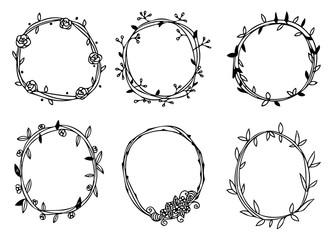Doodle circle flower frames vector set, vector doodle floral wreath in black line on a white background