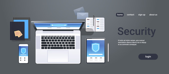 data protection internet security shield privacy information safety concept top angle view desktop laptop tablet smartphone screen secured access office stuff horizontal copy space