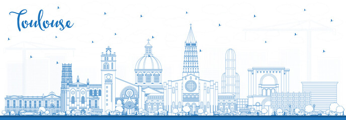 Fotomurales - Outline Toulouse France City Skyline with Blue Buildings.
