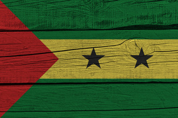 Sao Tome and Principe flag painted on old wood plank