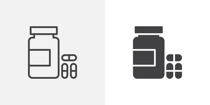 Medical pills bottle icon. line and glyph version, outline and filled vector sign. Medicine capsule linear and full pictogram. Symbol, logo illustration. Different style icons set