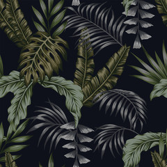 Night tropical pattern leaves seamless black background
