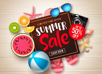 Summer sale vector banner template. Summer sale promotional discount text in frame with colorful summer elements and tropical fruits in wood texture background. Vector illustration.