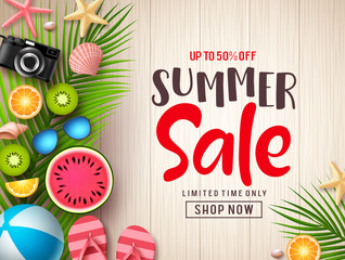 Summer sale vector banner background template. Summer discount promotion text in empty space with colorful tropical fruits and beach elements in wood textured background. Vector illustration.
