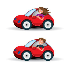 Keuken foto achterwand Cars Riding on the car. Happy woman and man rides car. Car driving vector illustrations set.