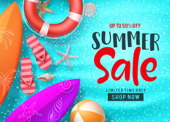 Summer sale vector banner background template. Summer sale shopping discount text and colorful beach elements floating in blue sea water background. Vector illustration.