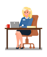 Woman Working in Office Flat Vector illustration