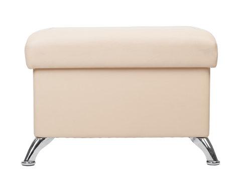 Beige rectangular pouf with legs