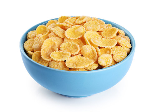 Bowl with cornflakes isolated on white background.