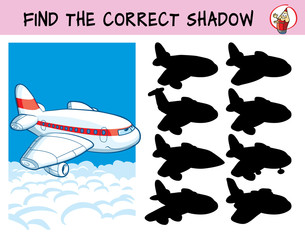 Passenger airliner. Find the correct shadow. Educational game for children. Cartoon vector illustration