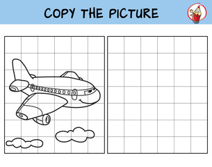 Passenger airliner. Copy the picture. Coloring book. Educational game for children. Cartoon vector illustration