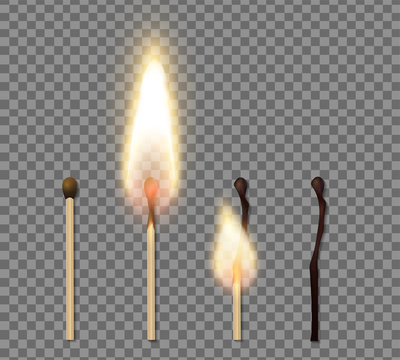 Realistic Match Stick Flame Icon Set