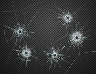 Bullet Holes Glass Transparent Realistic