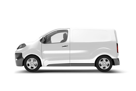 Mock up of a van on a white background - 3d rendering