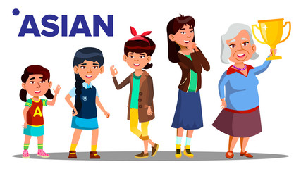 Asiatic Generation Female People Person Vector. Asian Mother, Daughter, Granddaughter, Baby, Teen. Isolated Illustration