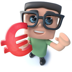 Funny 3d cartoon geek student character holding a Euro currency symbol