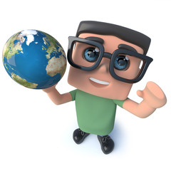 Funny cartoon 3d geek student character holding a globe of the Earth
