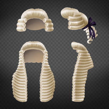 Long and short 18th century men curled wigs or perukes front and side view 3d realistic vector isolated on transparent background. Court dressing element, judges and advocates apparel illustration