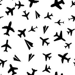 Seamless vector EPS 10 pattern with Plane Aircraft. Travel concept