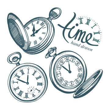Pocket watch. Hand drawn pocket watch vector illustrations set. Sketch drawing old clock icons set.