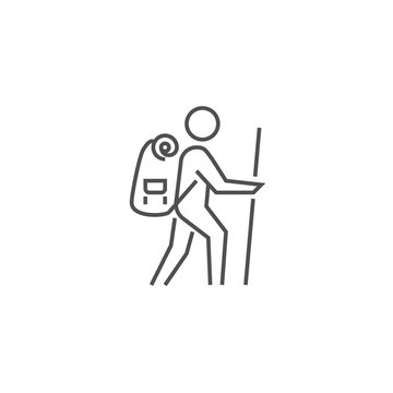 Backpacker Related Vector Line Icon.