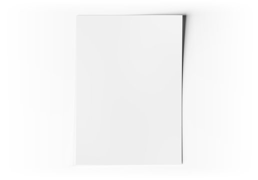 A4 blank paper sheet mockup on white 3D rendering