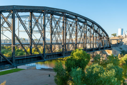 Historic Ocean-to-ocean truss bridge over Colorado river at Yuma Crossing, Arizona
