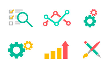 Flat icons set. Business analytic, infomation technology, web design. Development and marketing theme. Vector colorful illustration.