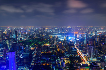 Printed roller blinds Toronto high view of city in night time