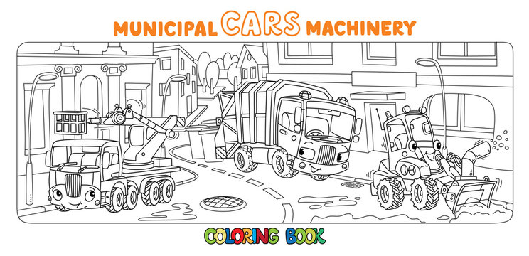 Funny small municipal cars with eyes Coloring book