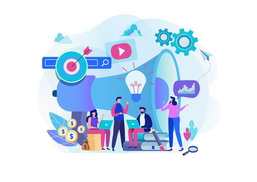 Digital marketing strategy team. Content manager. Flat cartoon character graphic design. Landing page template,banner,flyer,poster,web page