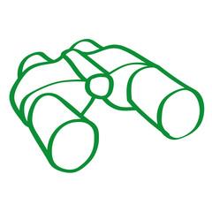 Handgezeichnetes Fernglas in grün