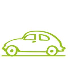 Handgezeichnetes Auto - Seitenansicht in hellgrün