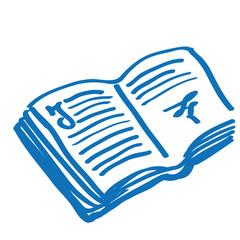 Handgezeichnetes Buch in dunkelblau