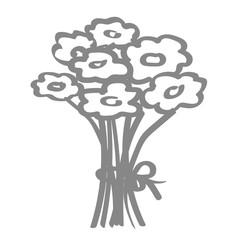 Handgezeichneter Blumenstrauß in grau