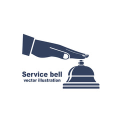 Silhouette male hand pressing service bell. Icon service bell, flat design style. Vector illustration. Customer at reception presses the call button. Black pictogram bell hotel.