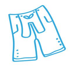 Handgezeichnete Lederhose in blau