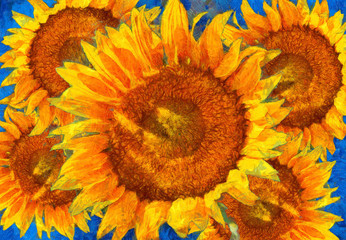 Sunflowers arrangement. Van Gogh style imitation.