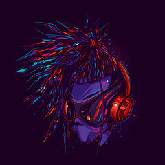 Original vector illustration in neon style. Stylish alien with glasses and headphones.