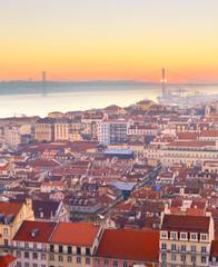 Fototapete - Skyline Lisbon river sunset Portugal